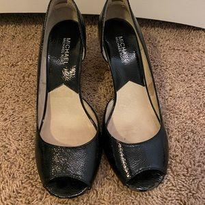 Michael Kors Shoes - Michale Kors patent leather peep toe wedge